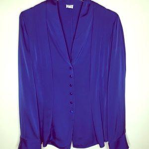 Armani Collezioni Long Sleeve Royal Blue Blouse